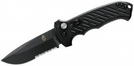 "Gerber 06 AUTO Folding Knife 3.8"" S30V Black Combo Drop Point Blade, Black Aluminum Handles"