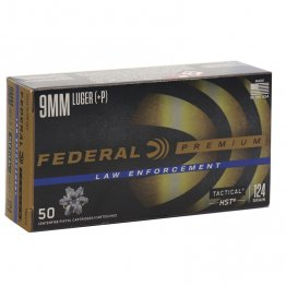 Federal Premium HST LE 9mm Luger JHP Ammo 124 Grain Jacketed Hollow Point 50rd box