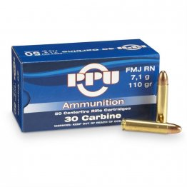 Prvi PPU 30 Carbine Ammunition PP30F 110 Grain Full Metal Jacket 50 Rounds
