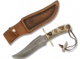Colt® Damascus Bowie with Stacked Stag Handle