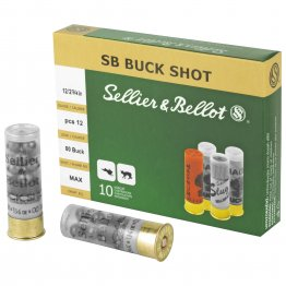 "Sellier & Bellot, Shotshell, 12 Gauge, 2.75"", 00 Buck, 12 Pellets, 10 Round Box"