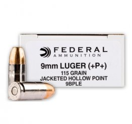 Federal 9mm 115gr +P+ JHP Ammunition 9mm Luger 115gr +P+ JHP 50rd Box