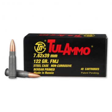 TulAmmo 7.62x39mm Ammunition 40 Rounds Steel FMJ 122 Grains