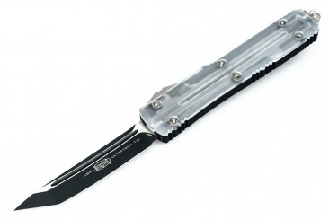 Microtech 123-1CL Ultratech T/E - Clear Top - Two-Tone Black Blade Limited Ed.